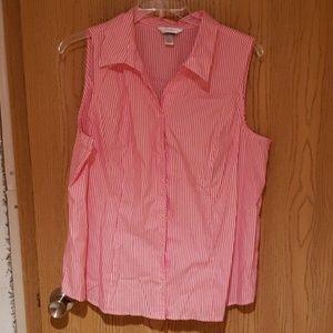 Sleeveless Button Up Striped Shirt